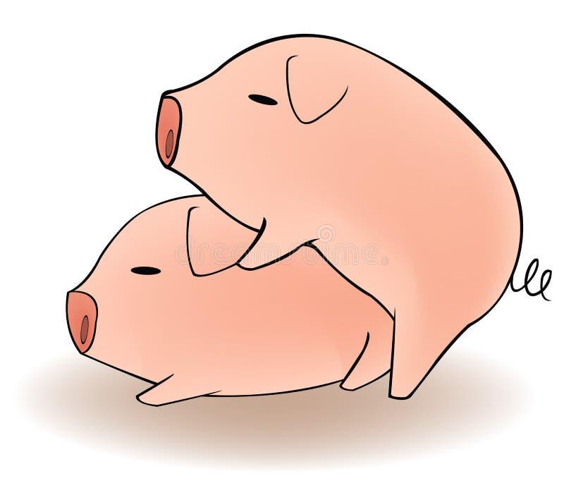 Zwei Karikaturschweine, die Sex haben stock abbildung