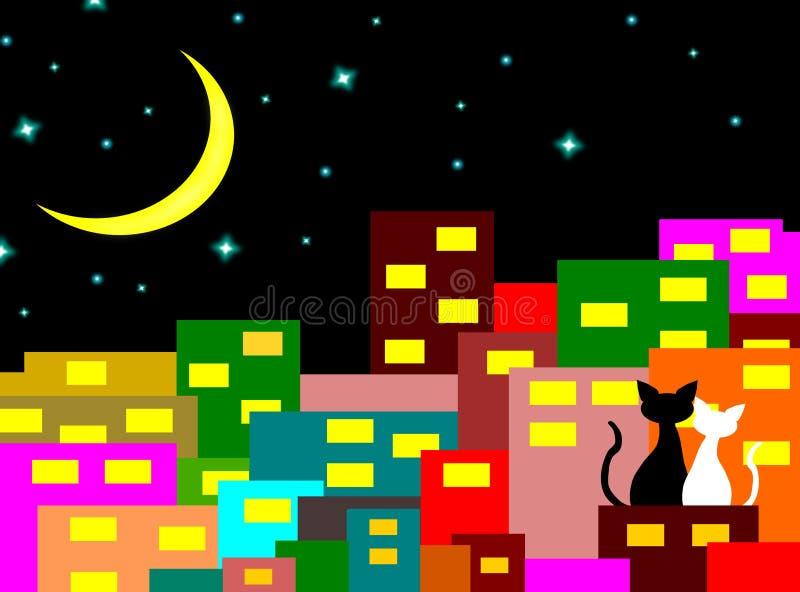 Zwei Katzen in der Liebe, die auf dem Gebäude mit Crescent Moon nachts, Liebhaberpaar, Vektor sitzt lizenzfreie abbildung