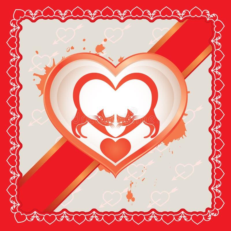 Download Zwei Katzen In Der Liebe Am Valentinstag Vektor Abbildung   Bild:  49958555