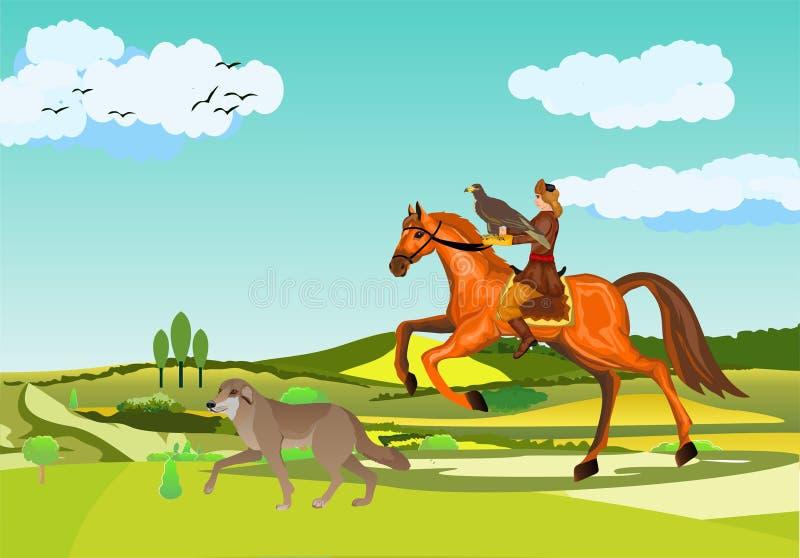 Zwei kazakEagle Jäger-Nomade Kazakh an der Jagd, Adlerjagdszene, Mann auf Pferd, Hund lizenzfreie abbildung