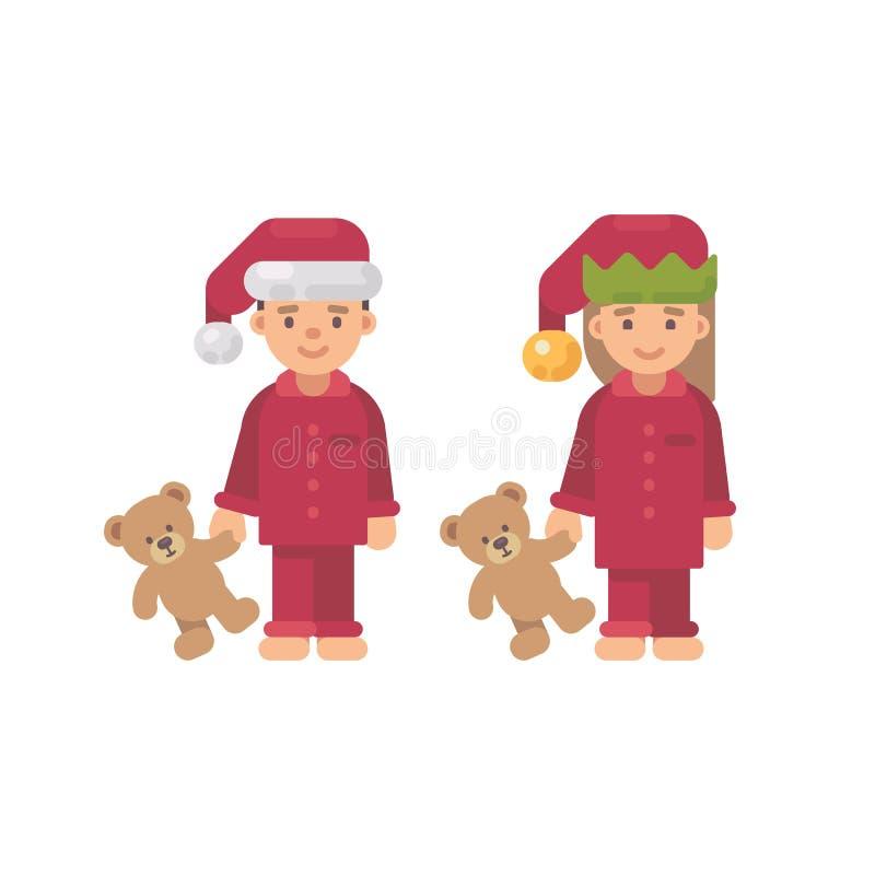 Zwei Kinder in den Weihnachtshüten und in roten Pyjamas, die Spielwaren halten stock abbildung