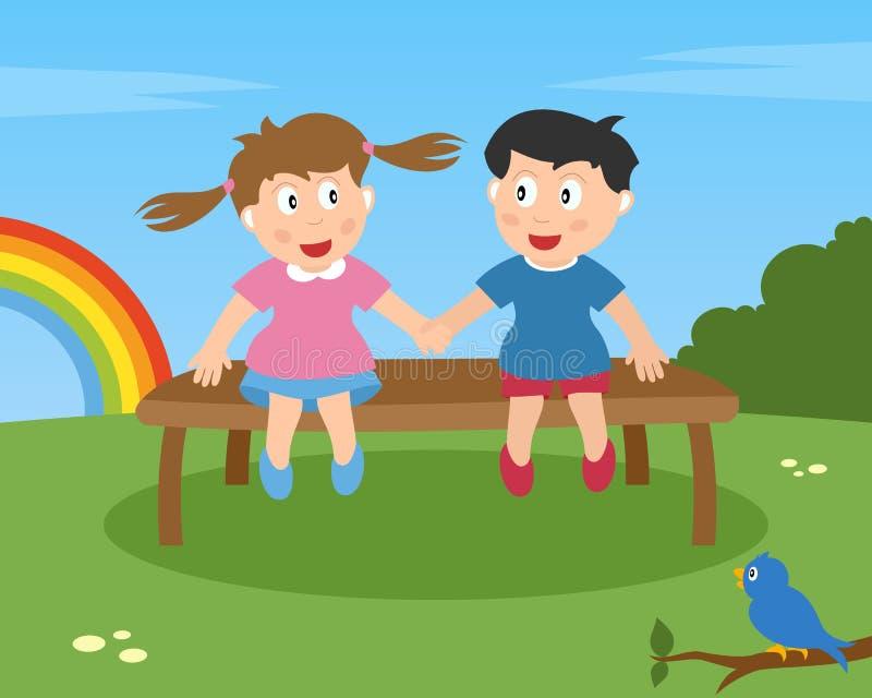 Zwei Kinder in der Liebe auf einer Bank stock abbildung