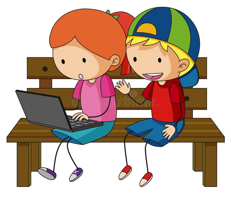 Zwei Kinder, die an Laptop-Computer arbeiten stock abbildung