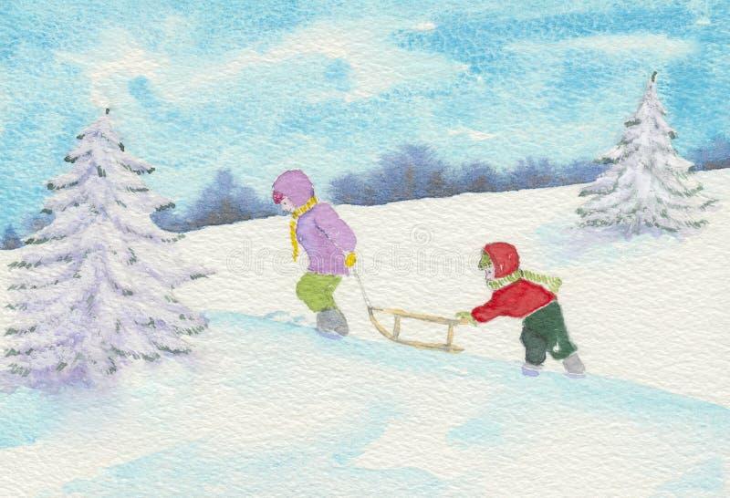 Zwei Kinder, die Schlitten ziehen stock abbildung