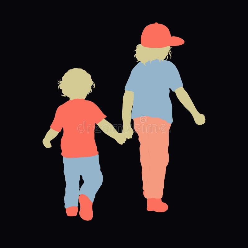 Zwei Kinder gehen Händchenhalten-, älterer und Junior-, bunterstoff stock abbildung