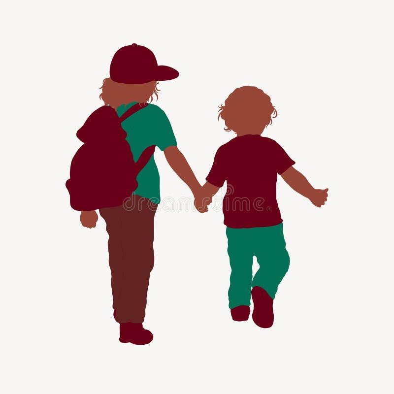 Zwei Kinder gehen Händchenhalten lizenzfreie abbildung