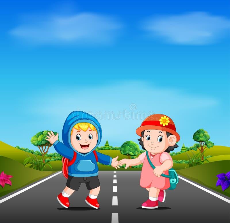 Zwei Kinder gehen zur Schule auf der Straße lizenzfreie abbildung