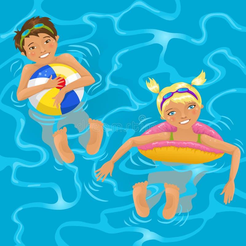 Zwei Kinder im Wasser vektor abbildung