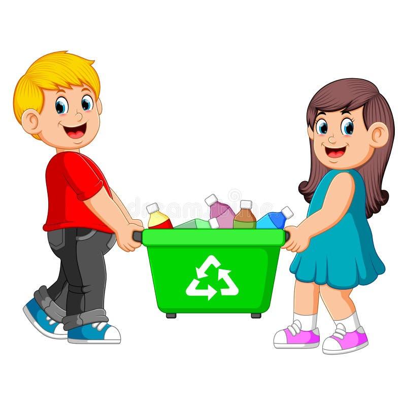 Zwei Kinder machen Papierkorb weiter lizenzfreie abbildung