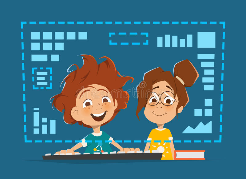 Zwei Kinderkind, das on-line-Bildung des vorderen Computermonitors sitzt vektor abbildung