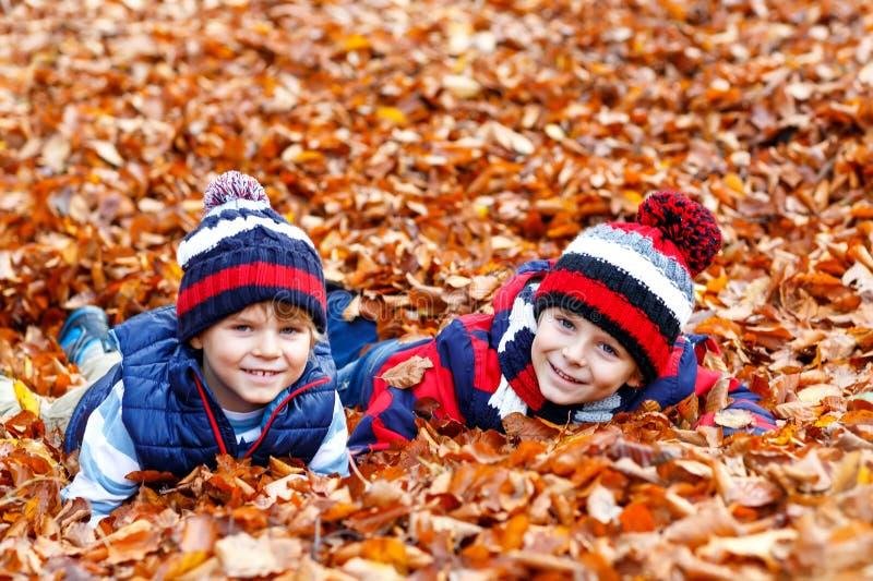 Zwei kleine Doppeljungen, die im Herbstlaub in der bunten Kleidung liegen Glückliche Geschwisterkinder, die Spaß im Herbstwald ha stockfotos