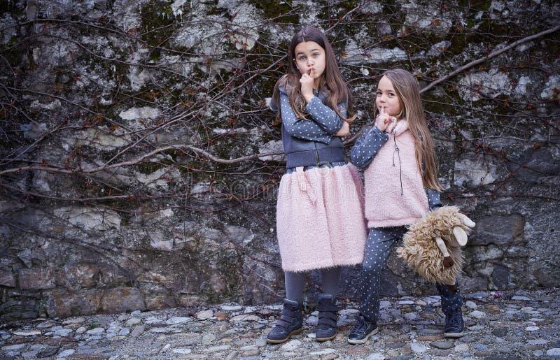 Zwei kleine Freundinnen auf grauem Felsenhintergrund stockbilder