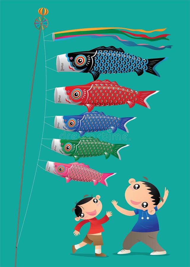 Zwei kleine Jungen, die japanisches Kind-` s Tagesfestival mit seinen Karpfendampfern feiern lizenzfreie abbildung