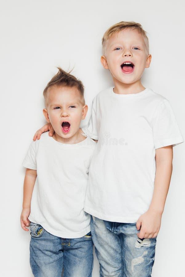Zwei kleine Jungen, die zusammen einen Sohn gegen weißen Hintergrund singen lizenzfreie stockbilder