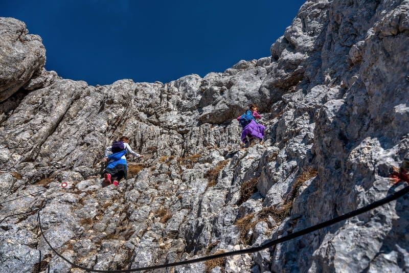 Zwei kleine Mädchen, die auf den Bergen im Nationalpark Durmit wandern stockfotografie