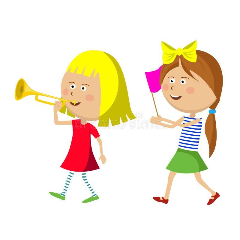 Zwei kleine Mädchen, die mit Trompete und Flagge marschieren stock abbildung