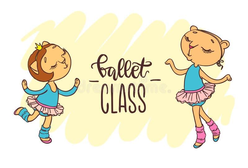 Zwei kleine nette Ballerinen in den Ballettballettröckchen Aufschrift: Ballett vektor abbildung