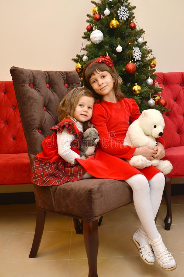Zwei kleine Schwestern mit weichen Spielwaren in den Händen sitzen vor dem hintergrund eines Baums des neuen Jahres lizenzfreie stockfotografie