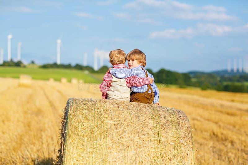 Zwei Kleinkindjungen, -zwillinge und -geschwister, die am warmen Sommertag auf Heustapel auf dem Weizengebiet sitzen Glückliches  stockfotos