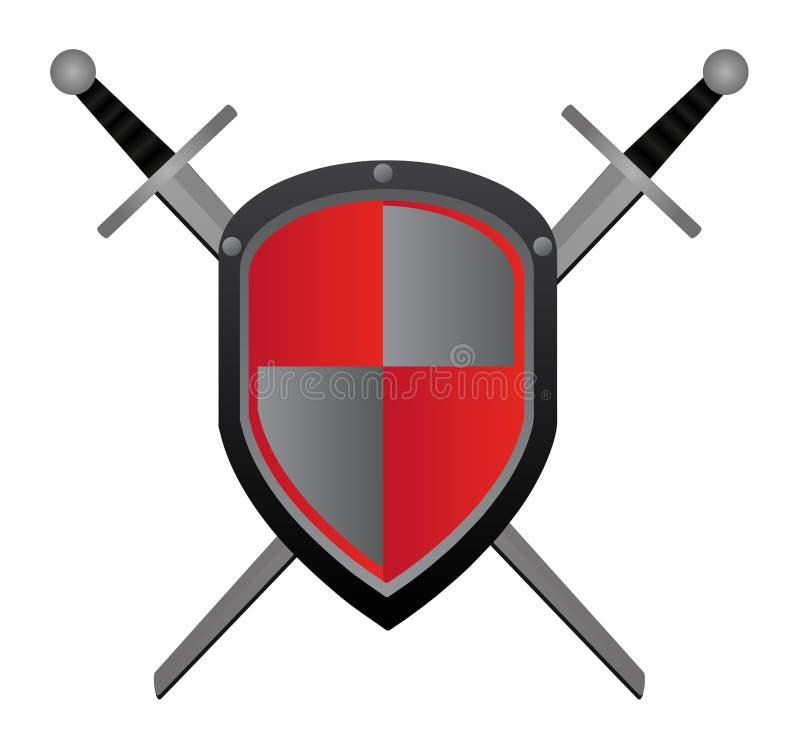 Zwei Klingen und rotes Schild stock abbildung