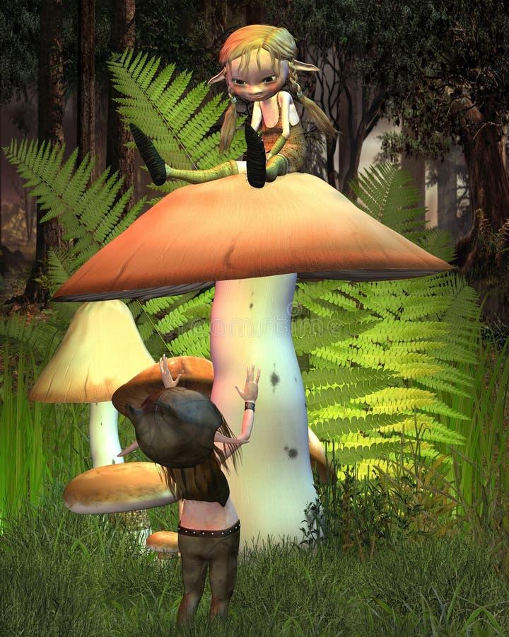 Zwei Kobolde auf einem Pilz in einer sonnigen Waldlichtung lizenzfreie abbildung