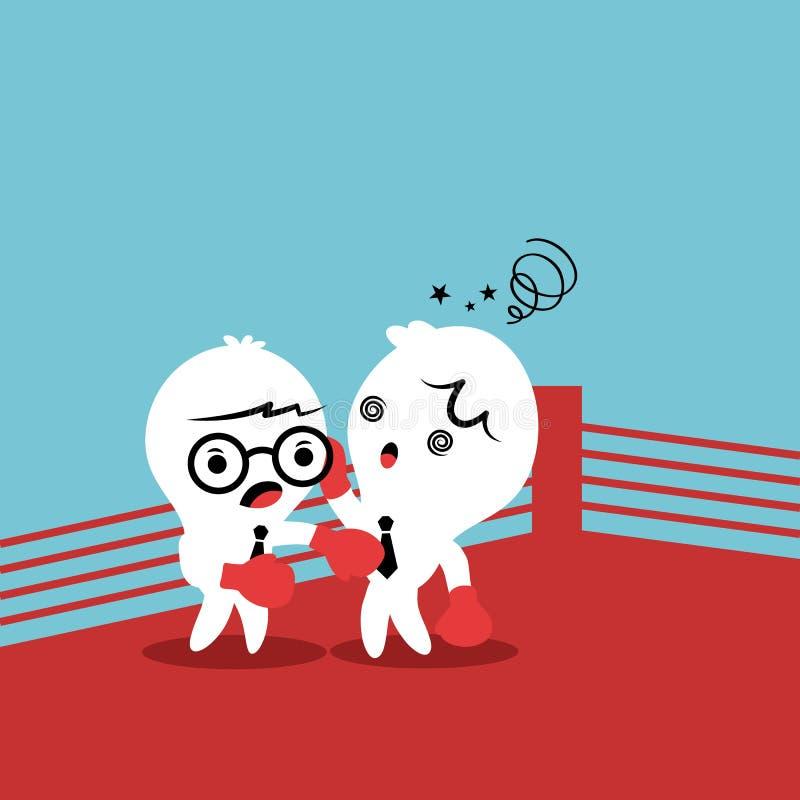 Zwei Kollegen, die mit einander kämpfen lizenzfreie abbildung