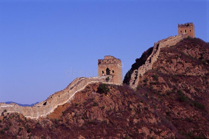 Zwei Kontrolltürme der Chinesischen Mauer lizenzfreie stockbilder