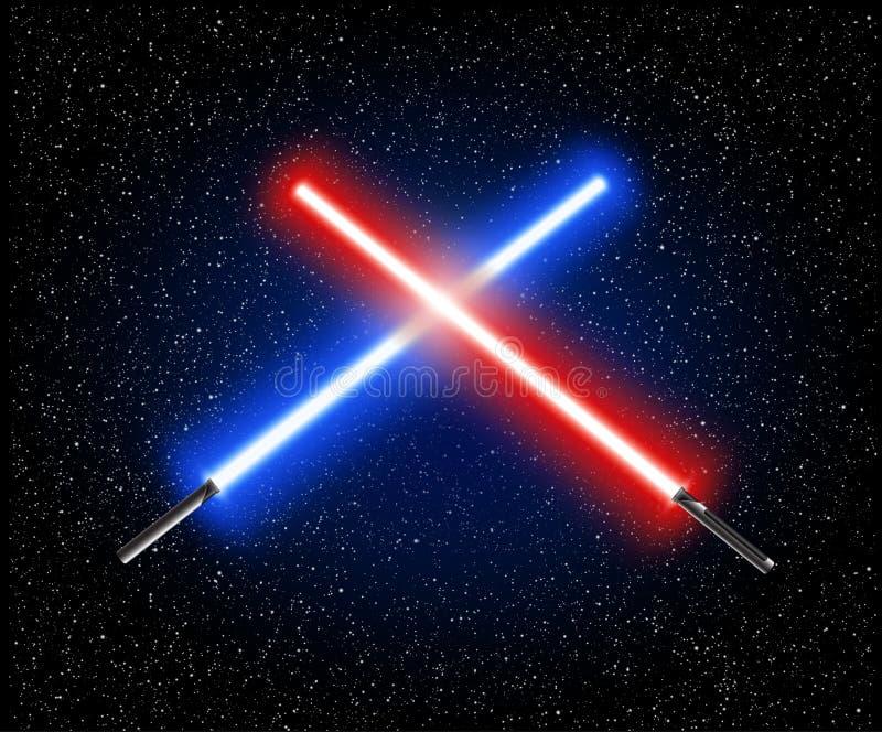 Zwei kreuzten die hellen blauen Klingen - und rotes Kreuzungslaser-lightsabe stock abbildung