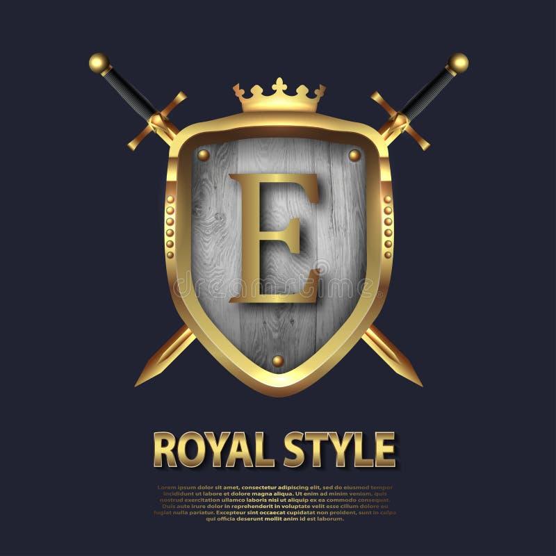 Zwei kreuzten Klingen und Schild mit Krone und Buchstaben E Briefgestaltung in der Goldfarbe für Gebrauch als heraldisches Symbol stock abbildung