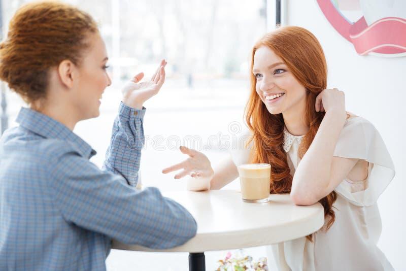 Zwei lächelnde Frauen, die zusammen Kaffee im Café trinken stockfotos