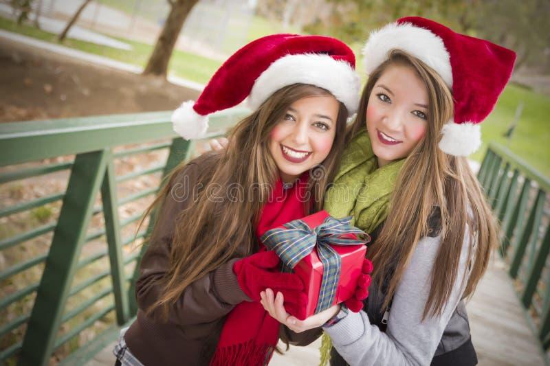 Zwei lächelnde Frauen-Sankt-Hüte, die ein eingewickeltes Geschenk anhalten lizenzfreies stockfoto