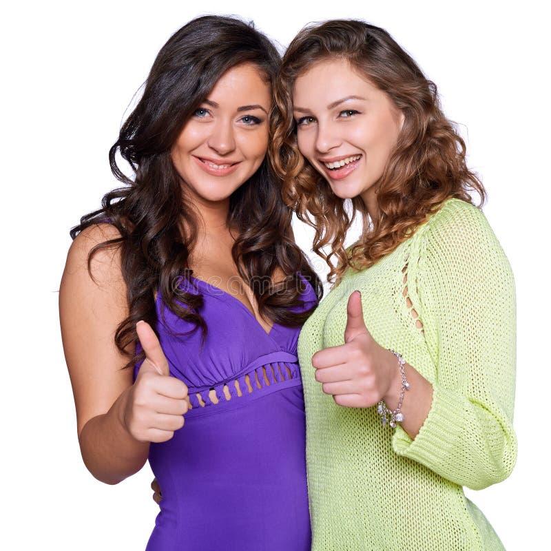 Zwei lächelnde Mädchen stockfoto