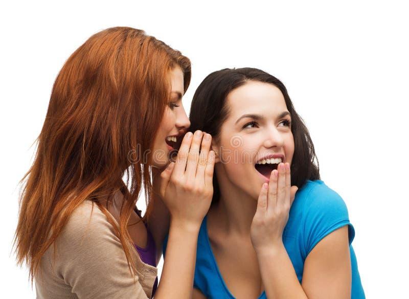 Zwei lächelnde Mädchen, die Klatsch flüstern lizenzfreies stockfoto