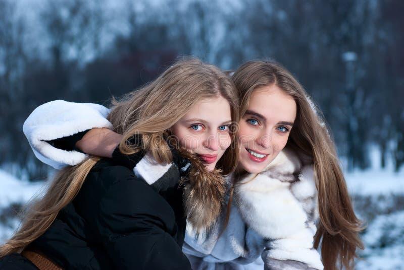 Zwei lächelnde Mädchen im Winterwald stockfoto