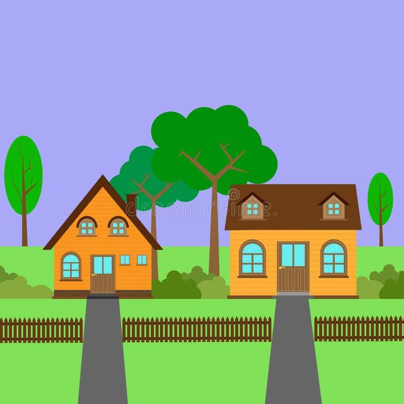 Zwei Landhäuser mit Gehöft, Zaun und Gehweg stock abbildung