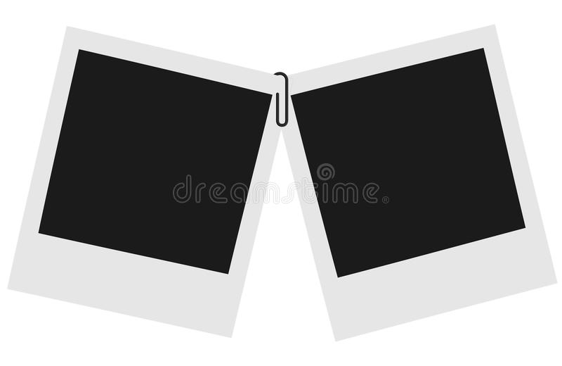 Zwei leere sofortige Fotos mit Papierklammer stockbilder