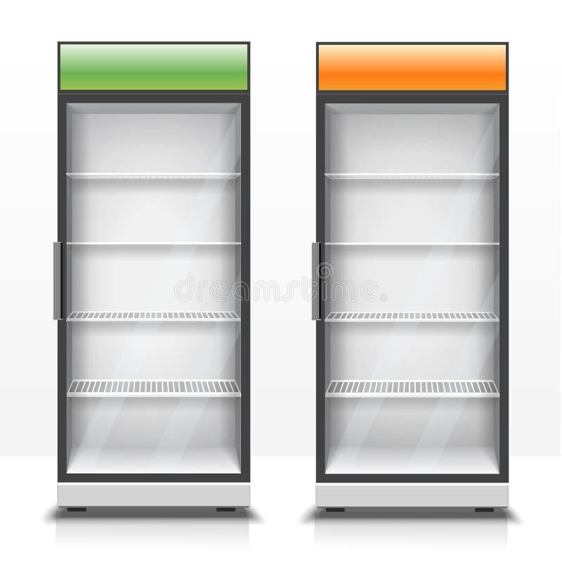 Zwei leere vertikale Kühlschränke mit transparenten Vorderteilen stock abbildung