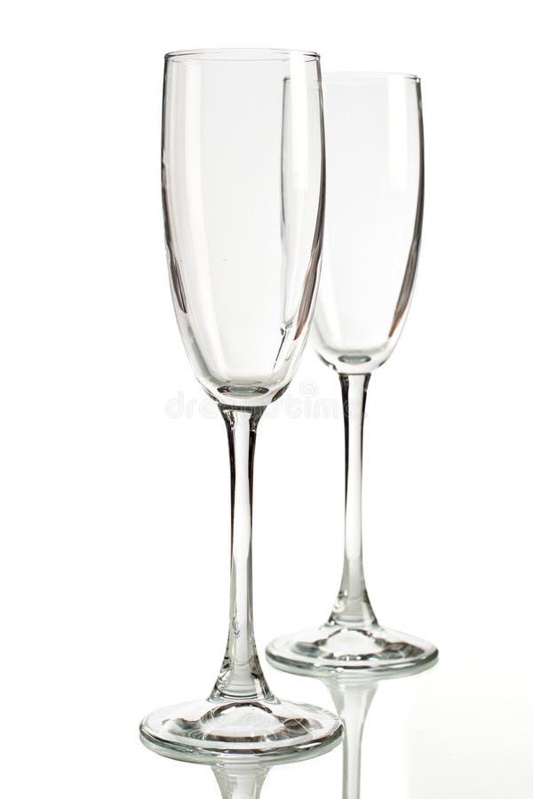 Zwei leere Weingläser lizenzfreies stockfoto