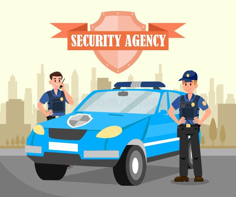 Zwei Leibwächter und Auto-flache Vektor-Illustration lizenzfreie abbildung