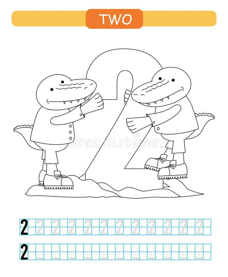 Zwei Lernen von Nr. 2 Färbendes bedruckbares Arbeitsblatt für Kindergarten und Vorschule krokodil lizenzfreie abbildung