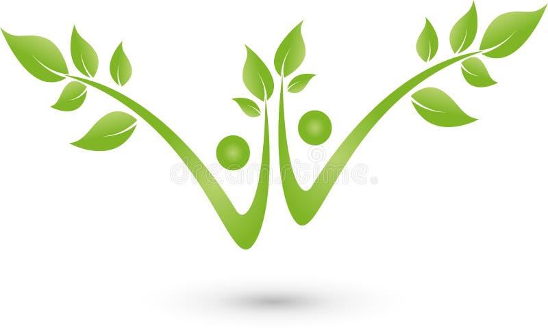 Zwei Leute als Baum-, Betriebs-, Wellness- und Naturlogo lizenzfreie abbildung