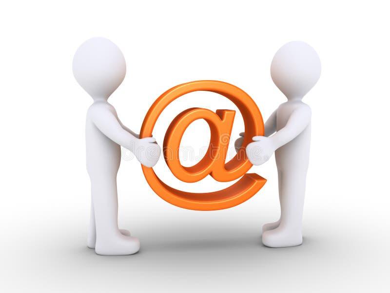 Zwei Leute, die E-Mail-Symbol halten vektor abbildung