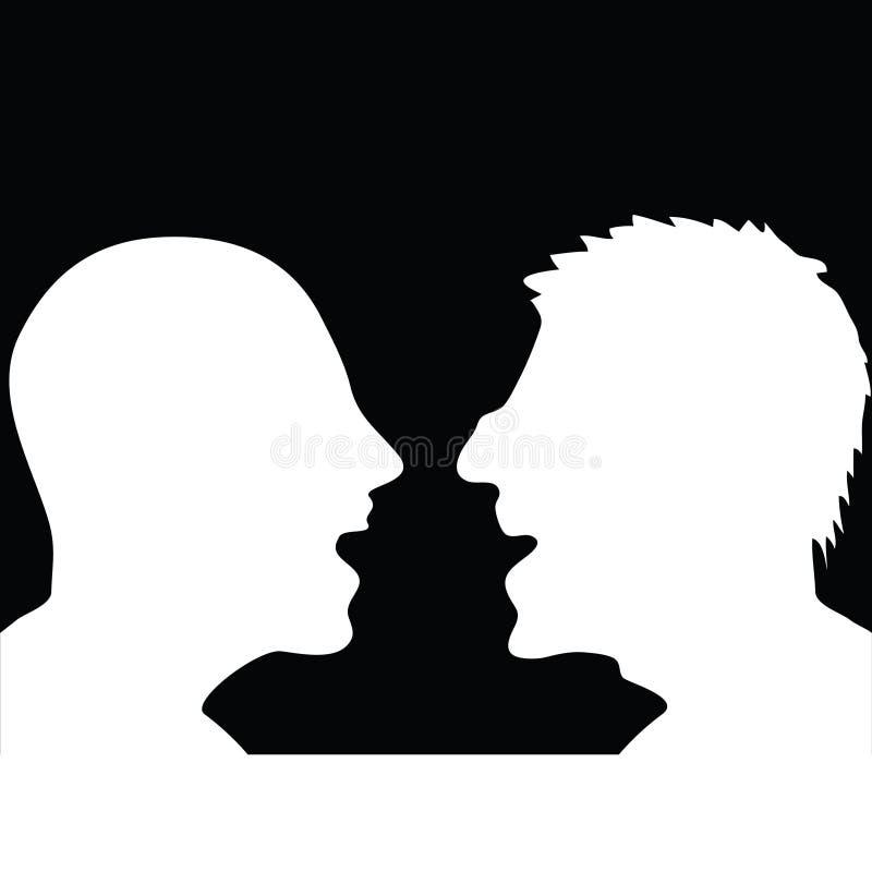Zwei Leute, die Schattenbild argumentieren stock abbildung