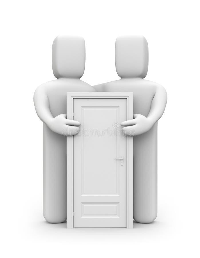 Zwei Leute mit Tür lizenzfreie abbildung