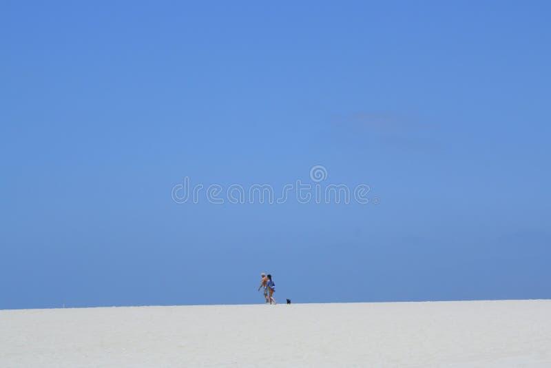 Zwei Leute und ein Hund sind im distnace auf einem weißen Sandstrand stockbilder