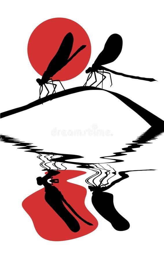 Zwei Libellen auf Kraut vektor abbildung