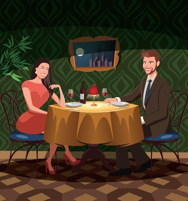 Zwei Liebhaber auf Datum in einem Restaurant stock abbildung
