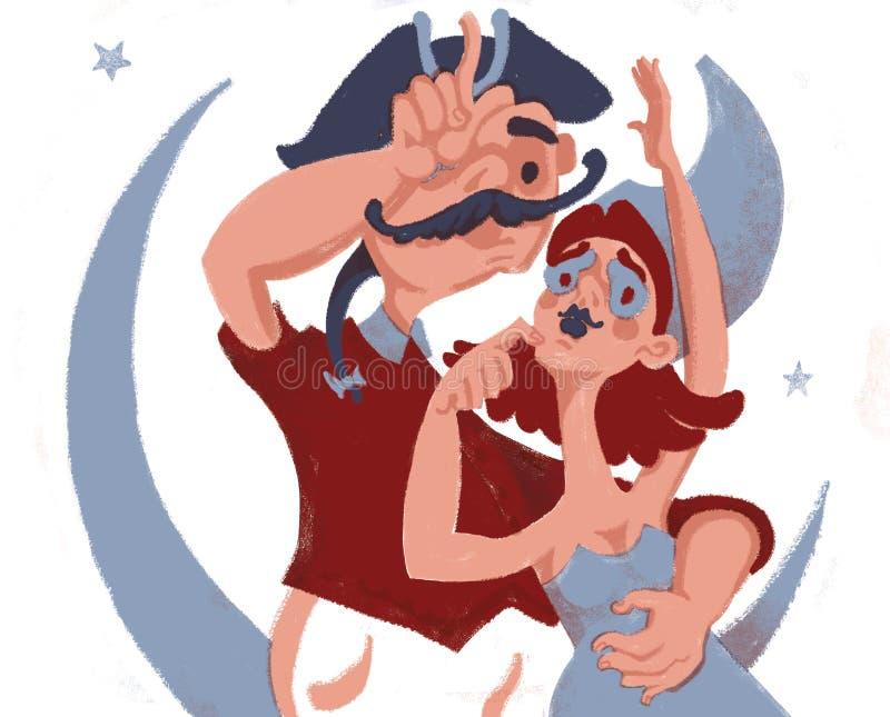 Zwei Liebhaber betrachten den Mond lizenzfreie abbildung