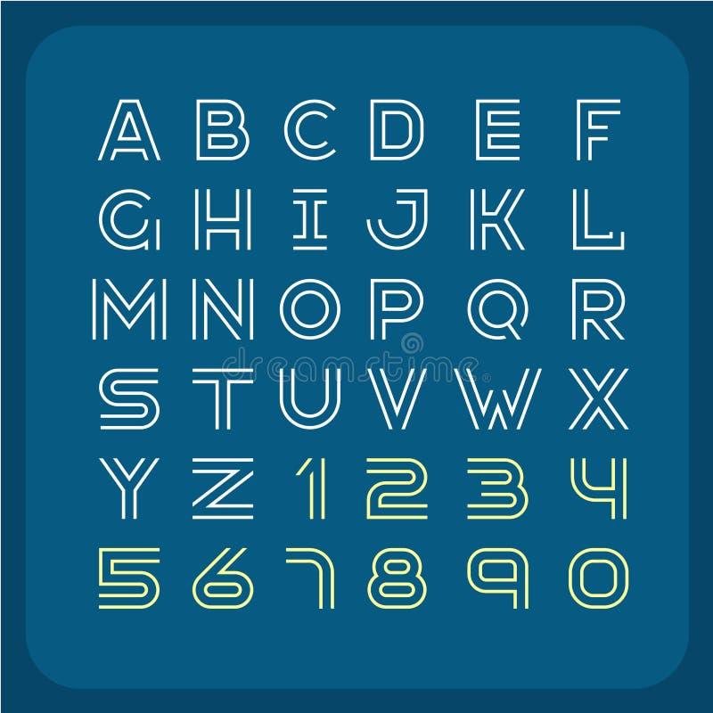Zwei Linien Retro- Guss der Art Alphabet mit Zahlen lizenzfreie abbildung