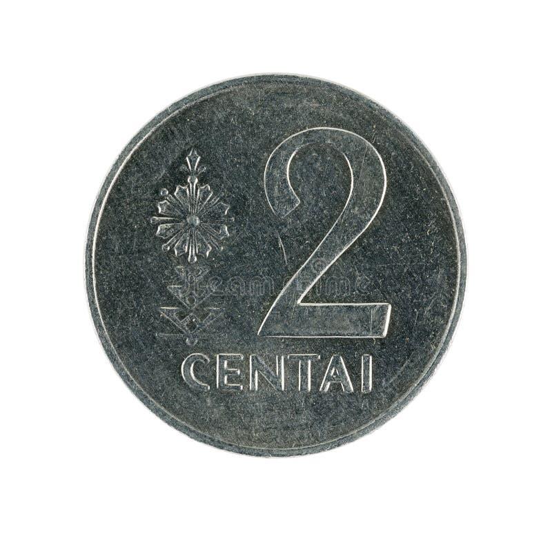 Zwei Litauer centai Münze 1991 lokalisiert auf weißem Hintergrund lizenzfreies stockfoto